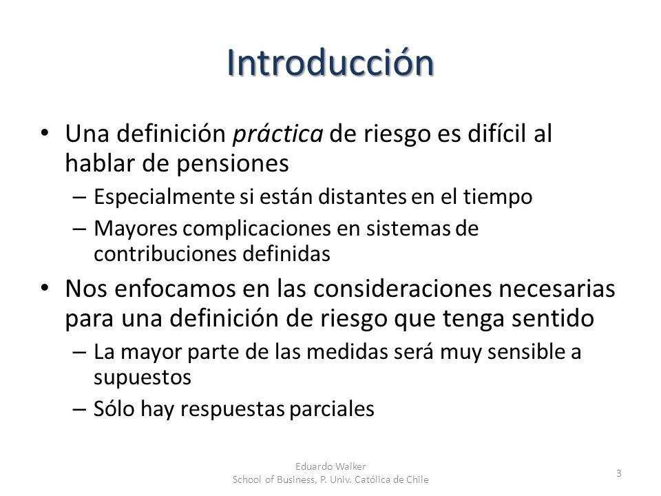Introducción Una definición práctica de riesgo es difícil al hablar de pensiones – Especialmente si están distantes en el tiempo – Mayores complicacio
