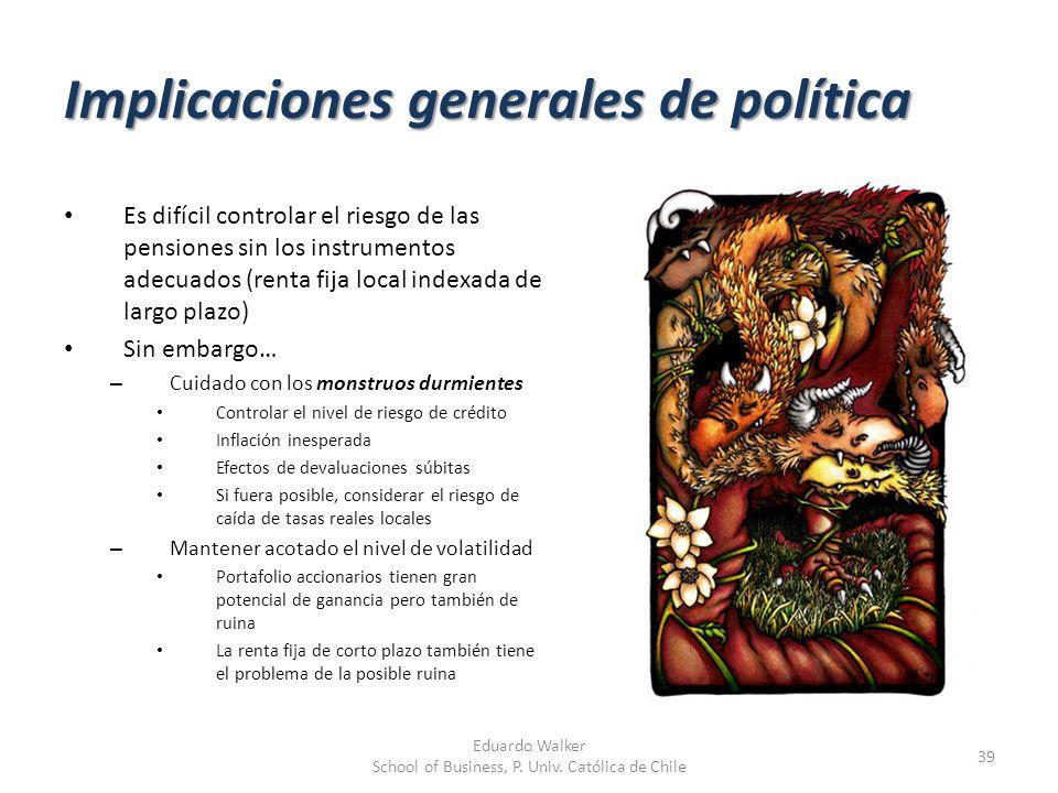 Implicaciones generales de política Es difícil controlar el riesgo de las pensiones sin los instrumentos adecuados (renta fija local indexada de largo
