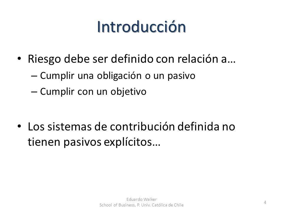 Introducción Riesgo debe ser definido con relación a… – Cumplir una obligación o un pasivo – Cumplir con un objetivo Los sistemas de contribución defi