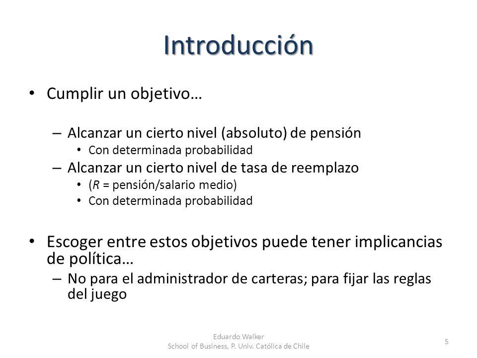 Introducción Cumplir un objetivo… – Alcanzar un cierto nivel (absoluto) de pensión Con determinada probabilidad – Alcanzar un cierto nivel de tasa de