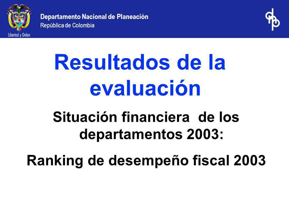 Departamento Nacional de Planeación República de Colombia Situación financiera de los departamentos 2003: Ranking de desempeño fiscal 2003 Resultados