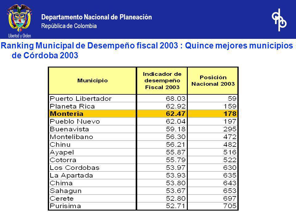 Departamento Nacional de Planeación República de Colombia Ranking Municipal de Desempeño fiscal 2003 : Quince mejores municipios de Córdoba 2003