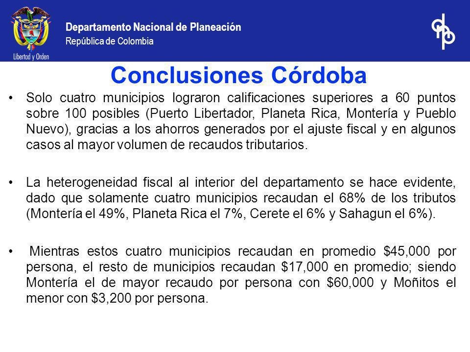Departamento Nacional de Planeación República de Colombia Solo cuatro municipios lograron calificaciones superiores a 60 puntos sobre 100 posibles (Pu