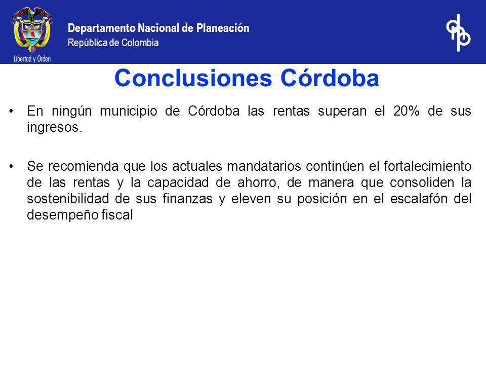 Departamento Nacional de Planeación República de Colombia En ningún municipio de Córdoba las rentas superan el 20% de sus ingresos. Se recomienda que