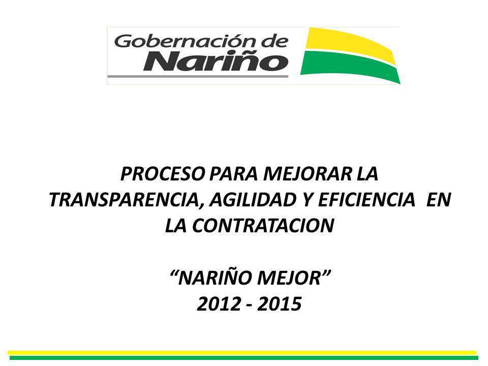 PROCESO PARA MEJORAR LA TRANSPARENCIA, AGILIDAD Y EFICIENCIA EN LA CONTRATACION NARIÑO MEJOR 2012 - 2015