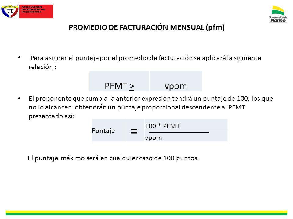 PROMEDIO DE FACTURACIÓN MENSUAL (pfm) Para asignar el puntaje por el promedio de facturación se aplicará la siguiente relación : El proponente que cum