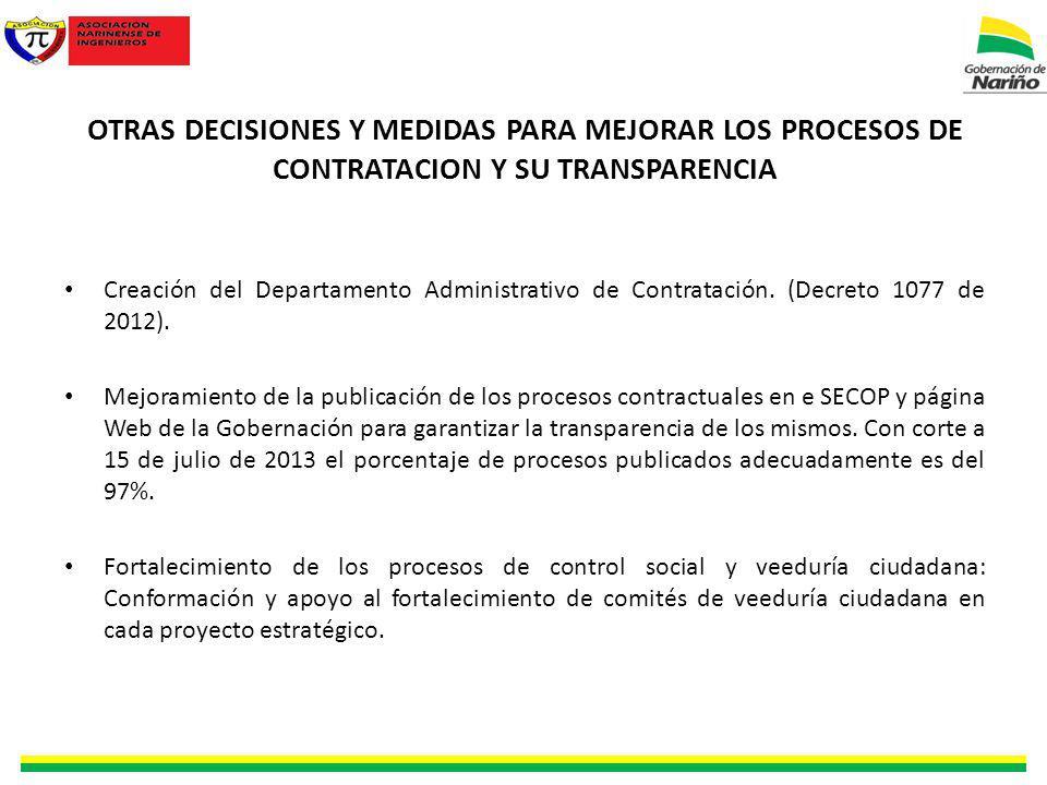 OTRAS DECISIONES Y MEDIDAS PARA MEJORAR LOS PROCESOS DE CONTRATACION Y SU TRANSPARENCIA Creación del Departamento Administrativo de Contratación.