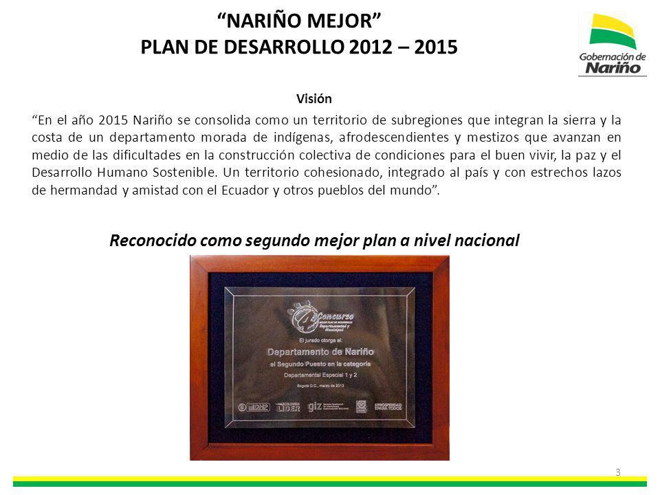 NARIÑO MEJOR PLAN DE DESARROLLO 2012 – 2015 Visión En el año 2015 Nariño se consolida como un territorio de subregiones que integran la sierra y la co