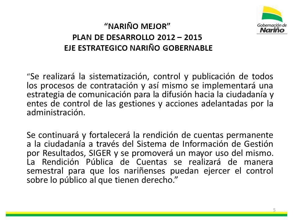 NARIÑO MEJOR PLAN DE DESARROLLO 2012 – 2015 EJE ESTRATEGICO NARIÑO GOBERNABLE Se realizará la sistematización, control y publicación de todos los proc