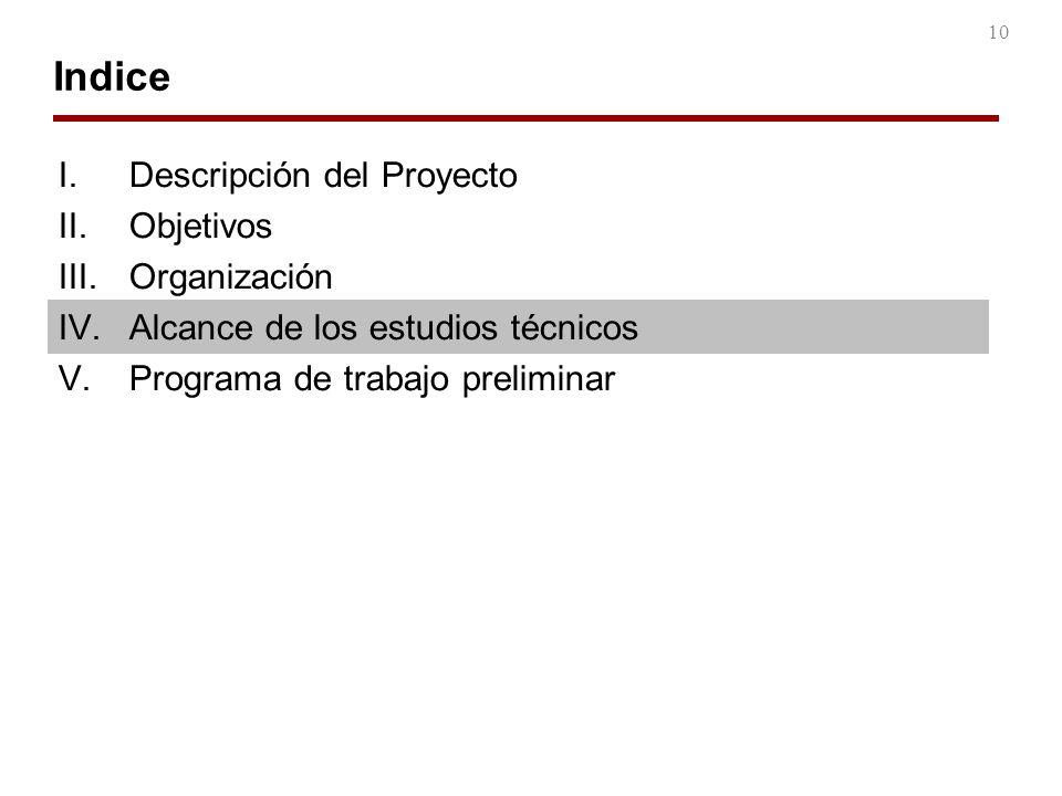 10 Indice I.Descripción del Proyecto II.Objetivos III.Organización IV.Alcance de los estudios técnicos V.Programa de trabajo preliminar