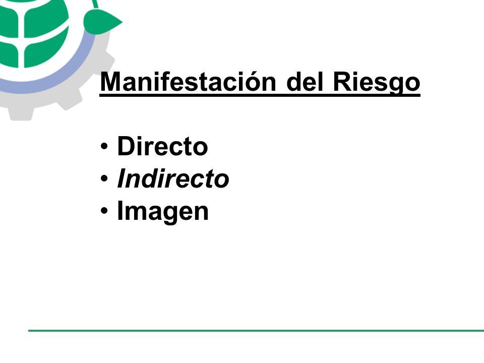 CONSEJO EMPRESARIAL COLOMBIANO PARA EL DESARROLLO SOSTENIBLE - CECODES Manifestación del Riesgo Directo Indirecto Imagen