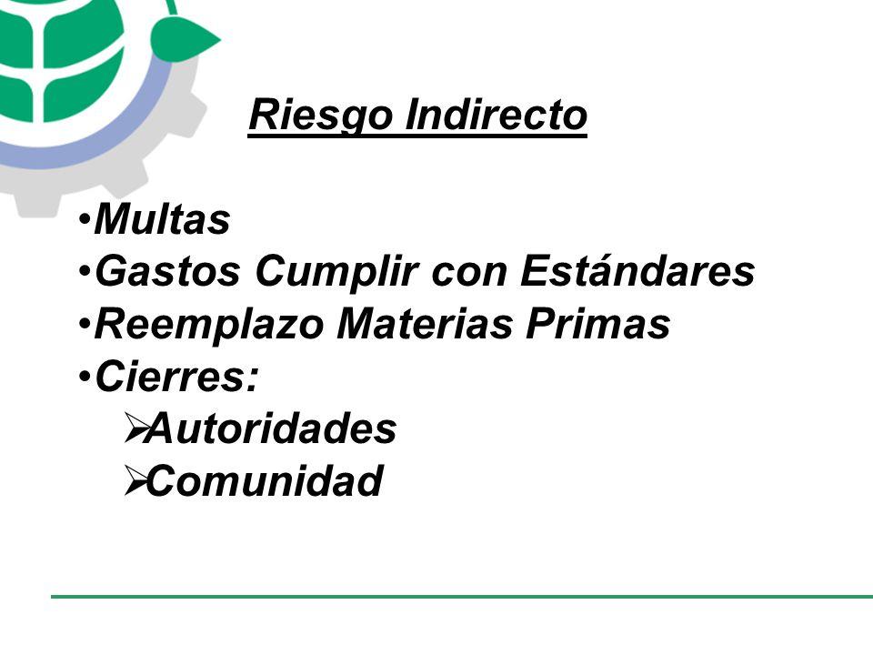CONSEJO EMPRESARIAL COLOMBIANO PARA EL DESARROLLO SOSTENIBLE - CECODES Riesgo Indirecto Multas Gastos Cumplir con Estándares Reemplazo Materias Primas Cierres: Autoridades Comunidad