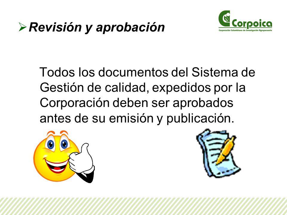 Revisión y aprobación Todos los documentos del Sistema de Gestión de calidad, expedidos por la Corporación deben ser aprobados antes de su emisión y publicación.