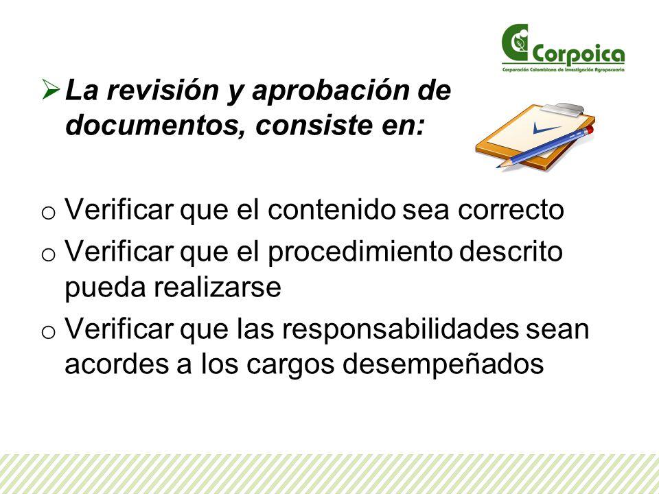 La revisión y aprobación de documentos, consiste en: o Verificar que el contenido sea correcto o Verificar que el procedimiento descrito pueda realizarse o Verificar que las responsabilidades sean acordes a los cargos desempeñados