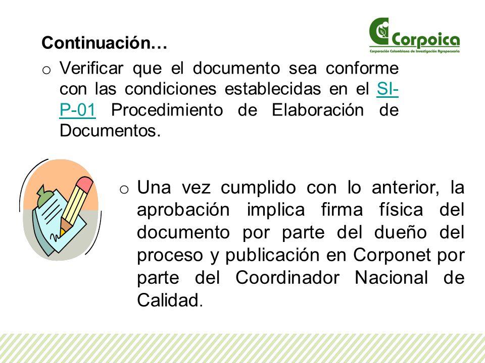 Continuación… o Verificar que el documento sea conforme con las condiciones establecidas en el SI- P-01 Procedimiento de Elaboración de Documentos.SI- P-01 o Una vez cumplido con lo anterior, la aprobación implica firma física del documento por parte del dueño del proceso y publicación en Corponet por parte del Coordinador Nacional de Calidad.