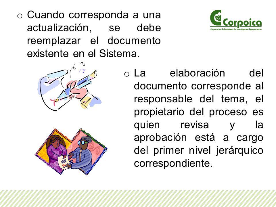 o Cuando corresponda a una actualización, se debe reemplazar el documento existente en el Sistema. o La elaboración del documento corresponde al respo