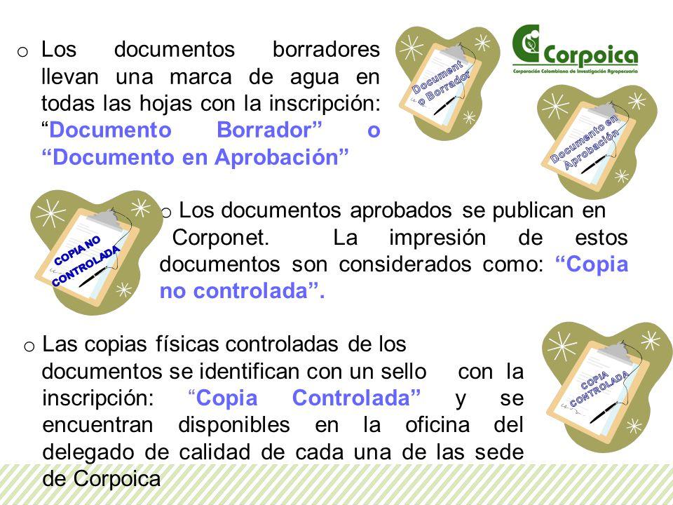 o Los documentos borradores llevan una marca de agua en todas las hojas con la inscripción:Documento Borrador o Documento en Aprobación o Los documentos aprobados se publican en Corponet.