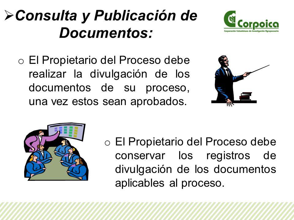 Consulta y Publicación de Documentos: o El Propietario del Proceso debe realizar la divulgación de los documentos de su proceso, una vez estos sean aprobados.