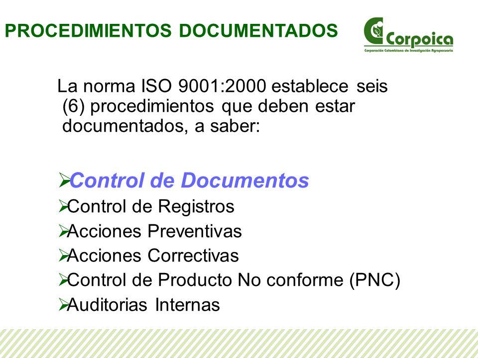 La norma ISO 9001:2000 establece seis (6) procedimientos que deben estar documentados, a saber: Control de Documentos Control de Registros Acciones Preventivas Acciones Correctivas Control de Producto No conforme (PNC) Auditorias Internas PROCEDIMIENTOS DOCUMENTADOS