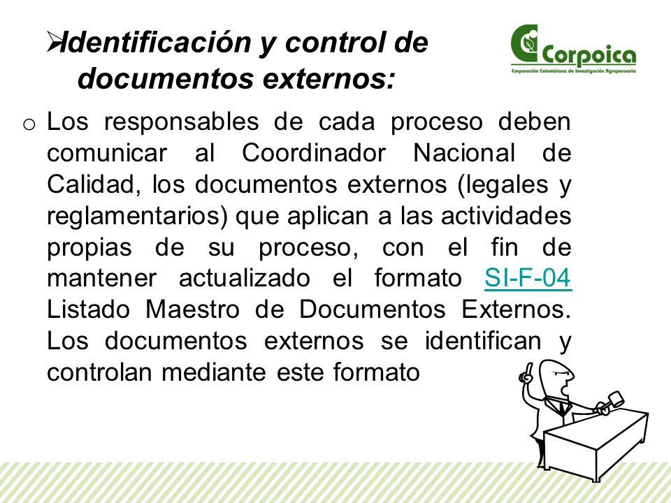 Identificación y control de documentos externos: o Los responsables de cada proceso deben comunicar al Coordinador Nacional de Calidad, los documentos externos (legales y reglamentarios) que aplican a las actividades propias de su proceso, con el fin de mantener actualizado el formato SI-F-04 Listado Maestro de Documentos Externos.