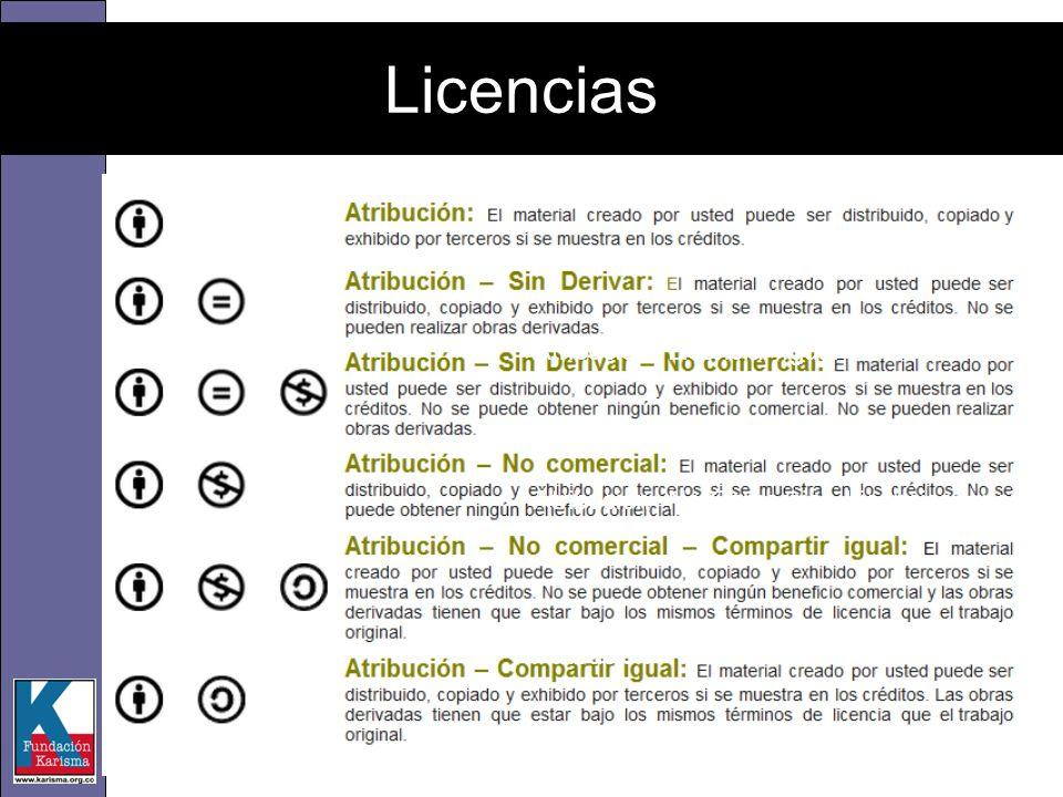 Atribución- Licenciar Igual Atribución- No Comercial- Licenciar Igual Atribución- No Comercial – No Derivadas Licencias