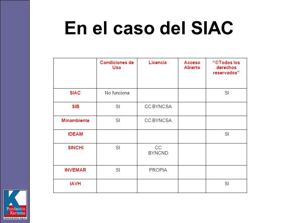 En el caso del SIAC Condiciones de Uso LicenciaAcceso Abierto ©Todos los derechos reservados SIACNo funciona SI SIB SICC BYNCSA Minambiente SICC BYNCS