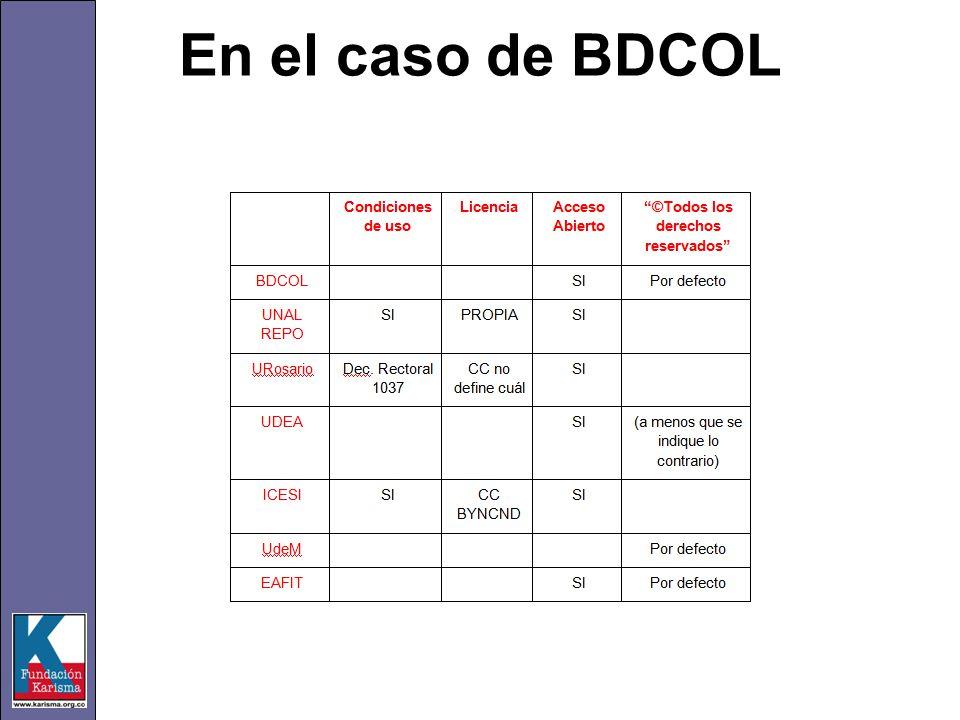 En el caso de BDCOL