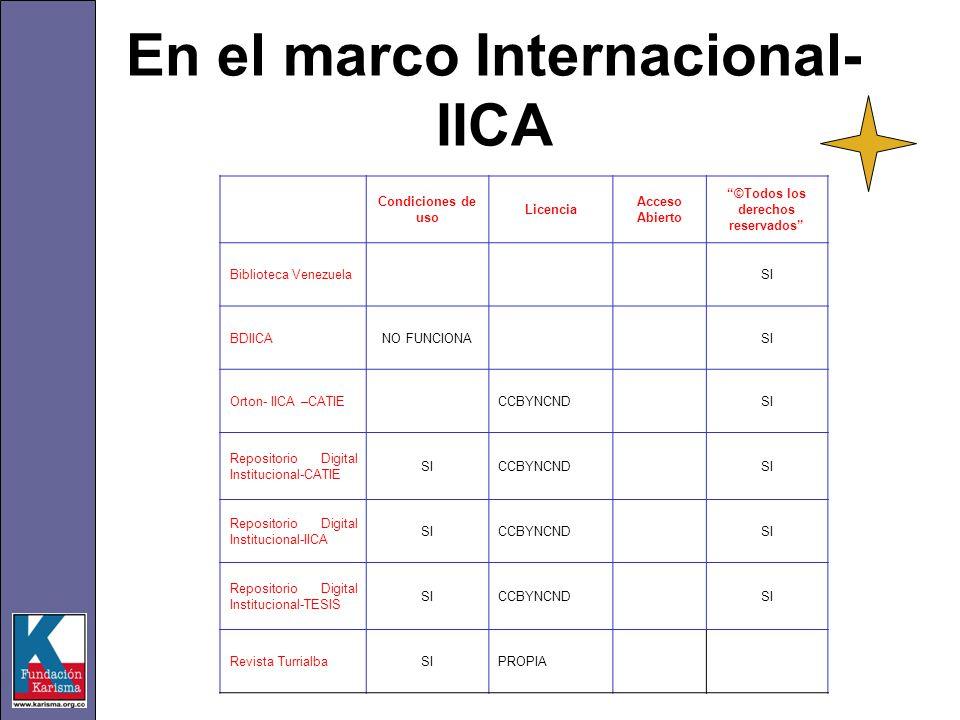 En el marco Internacional- IICA Condiciones de uso Licencia Acceso Abierto ©Todos los derechos reservados Biblioteca VenezuelaSI BDIICANO FUNCIONASI O