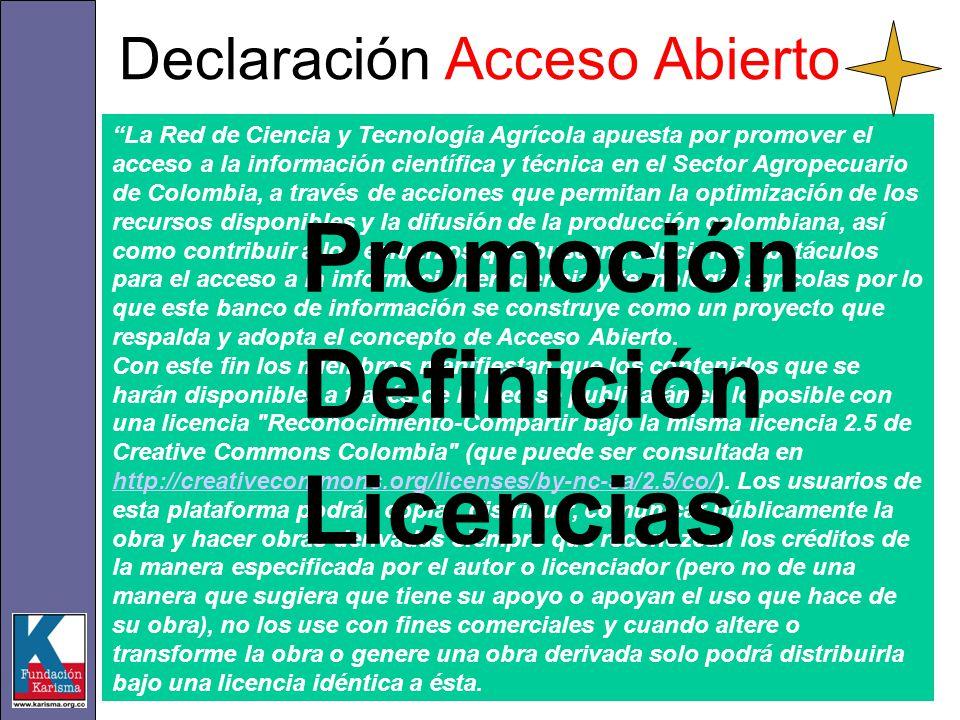 Declaración Acceso Abierto La Red de Ciencia y Tecnología Agrícola apuesta por promover el acceso a la información científica y técnica en el Sector Agropecuario de Colombia, a través de acciones que permitan la optimización de los recursos disponibles y la difusión de la producción colombiana, así como contribuir a los esfuerzos que buscan reducir los obstáculos para el acceso a la información en ciencia y tecnología agrícolas por lo que este banco de información se construye como un proyecto que respalda y adopta el concepto de Acceso Abierto.