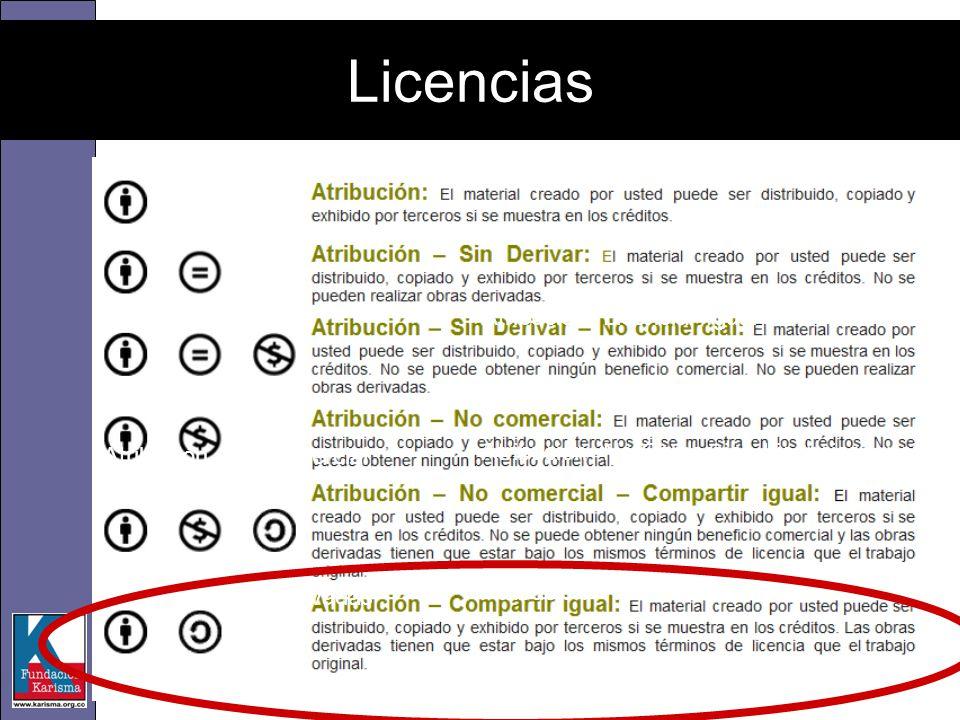 Atribución- Licenciar Igual Atribución- No Comercial- Licenciar Igual Atribución- No Comercial – No Derivadas Licencias Atribución Atribución -No Come