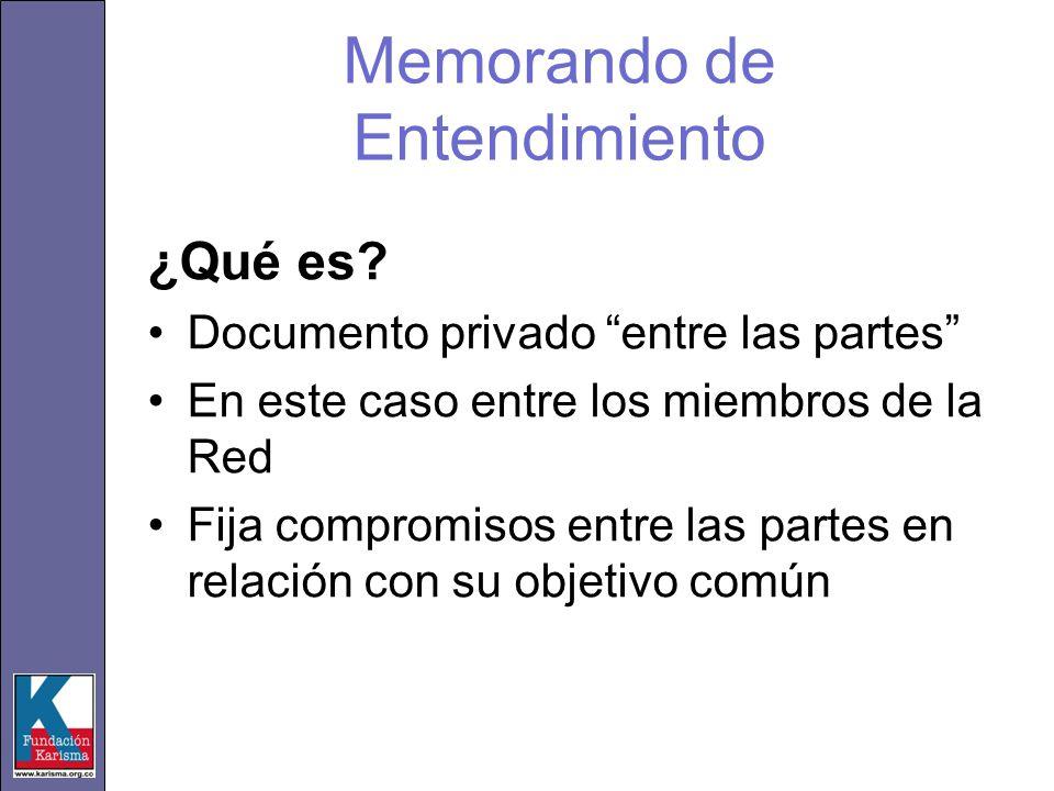 Memorando de Entendimiento ¿Qué es? Documento privado entre las partes En este caso entre los miembros de la Red Fija compromisos entre las partes en