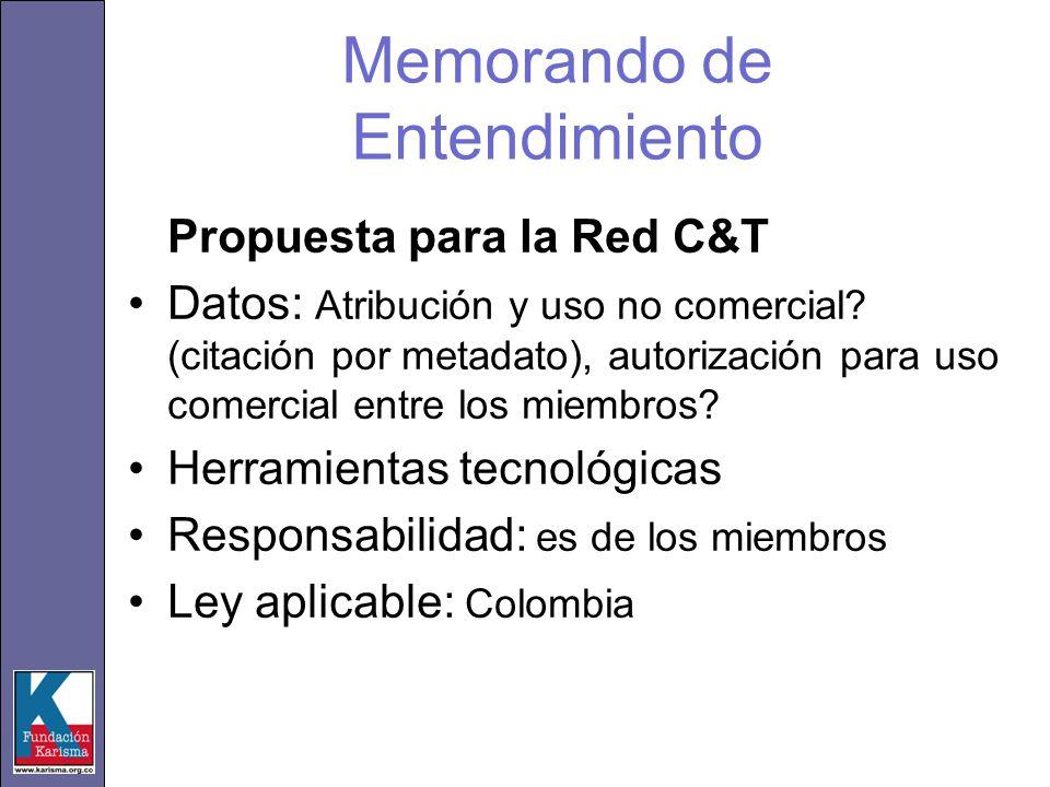 Memorando de Entendimiento Propuesta para la Red C&T Datos: Atribución y uso no comercial? (citación por metadato), autorización para uso comercial en