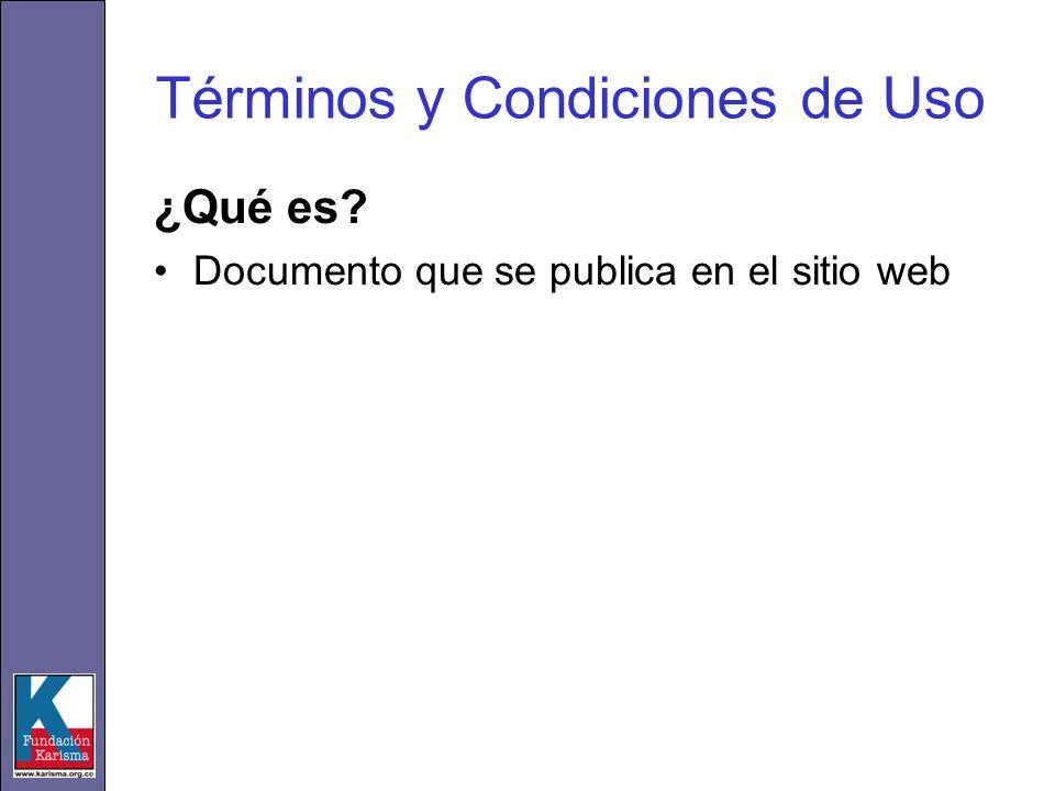 Términos y Condiciones de Uso ¿Qué es Documento que se publica en el sitio web