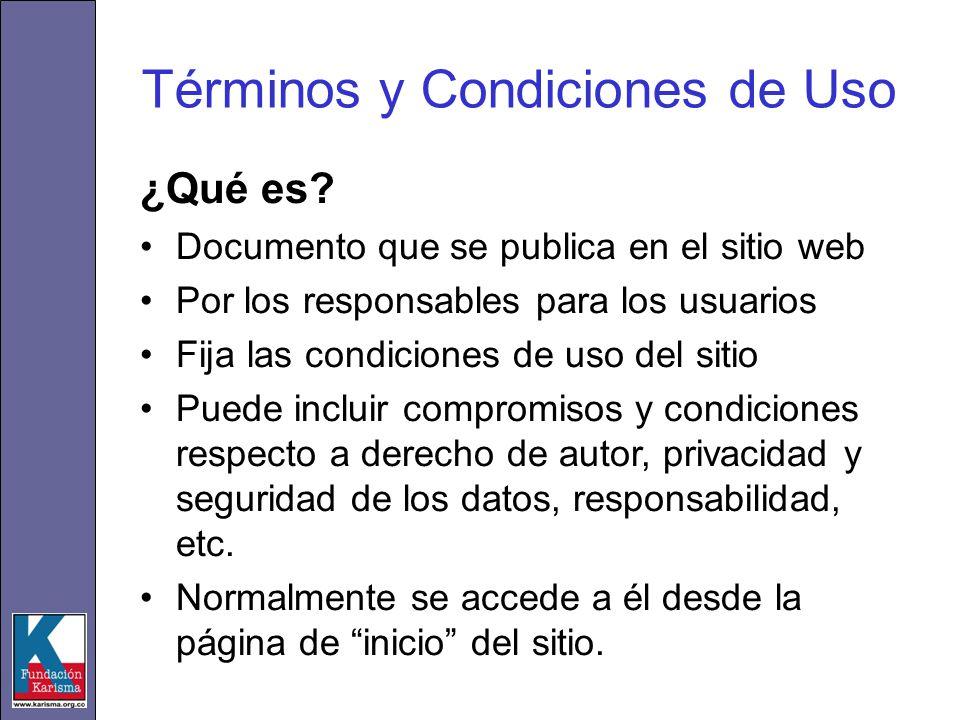 Términos y Condiciones de Uso ¿Qué es? Documento que se publica en el sitio web Por los responsables para los usuarios Fija las condiciones de uso del