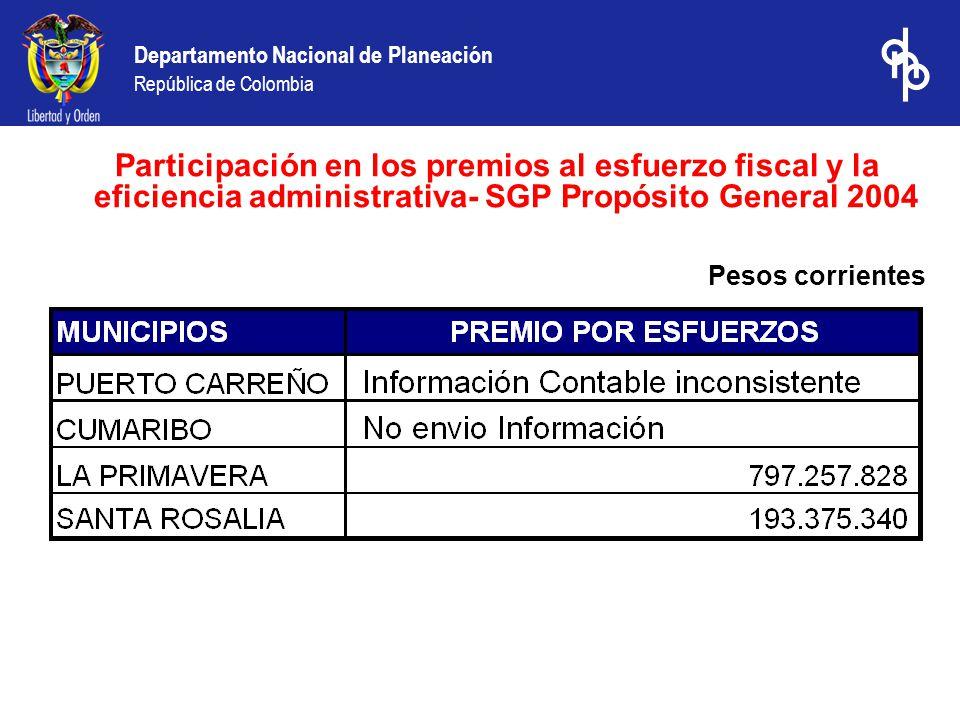 Departamento Nacional de Planeación República de Colombia Participación en los premios al esfuerzo fiscal y la eficiencia administrativa- SGP Propósito General 2004 Pesos corrientes
