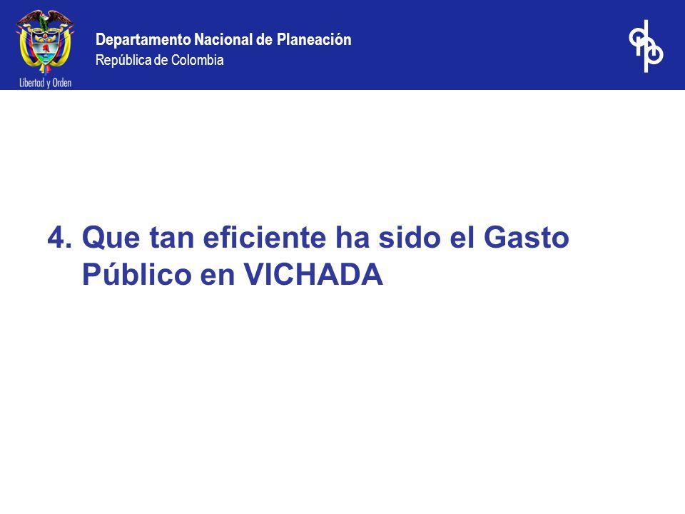 Departamento Nacional de Planeación República de Colombia 4.Que tan eficiente ha sido el Gasto Público en VICHADA