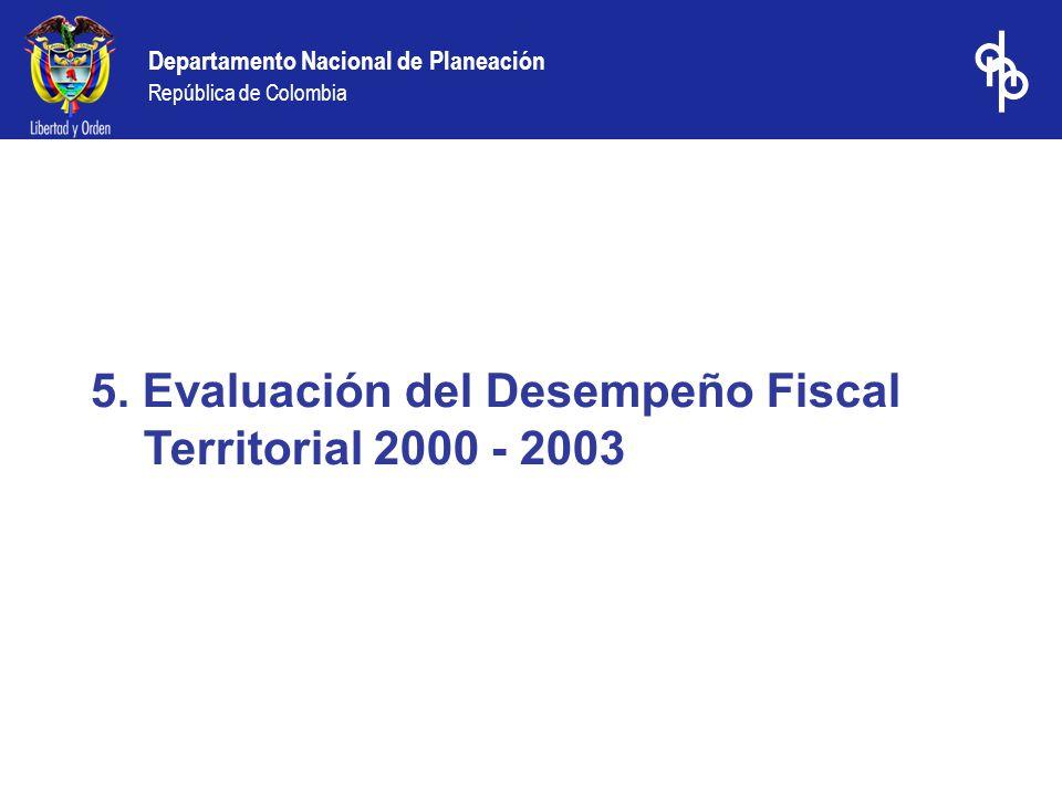 Departamento Nacional de Planeación República de Colombia 5. Evaluación del Desempeño Fiscal Territorial 2000 - 2003
