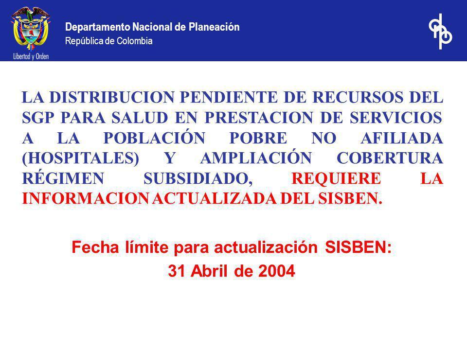 LA DISTRIBUCION PENDIENTE DE RECURSOS DEL SGP PARA SALUD EN PRESTACION DE SERVICIOS A LA POBLACIÓN POBRE NO AFILIADA (HOSPITALES) Y AMPLIACIÓN COBERTURA RÉGIMEN SUBSIDIADO, REQUIERE LA INFORMACION ACTUALIZADA DEL SISBEN.