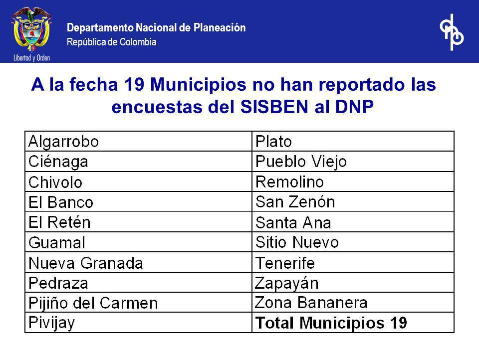 Departamento Nacional de Planeación República de Colombia A la fecha 19 Municipios no han reportado las encuestas del SISBEN al DNP