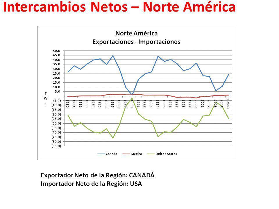 Intercambios Netos – Norte América Exportador Neto de la Región: CANADÁ Importador Neto de la Región: USA
