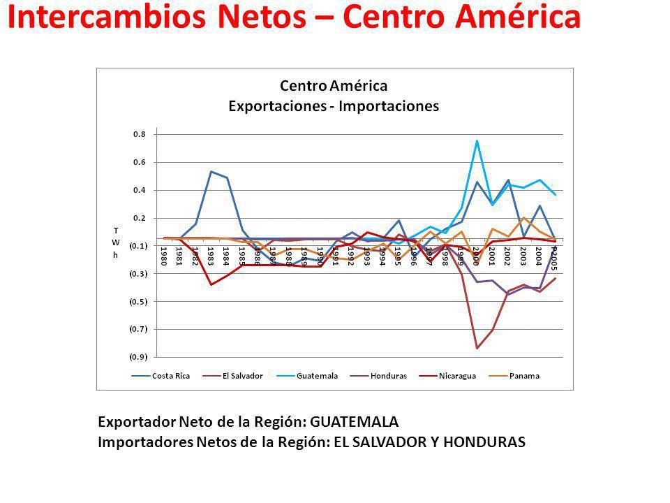 Intercambios Netos – Centro América Exportador Neto de la Región: GUATEMALA Importadores Netos de la Región: EL SALVADOR Y HONDURAS
