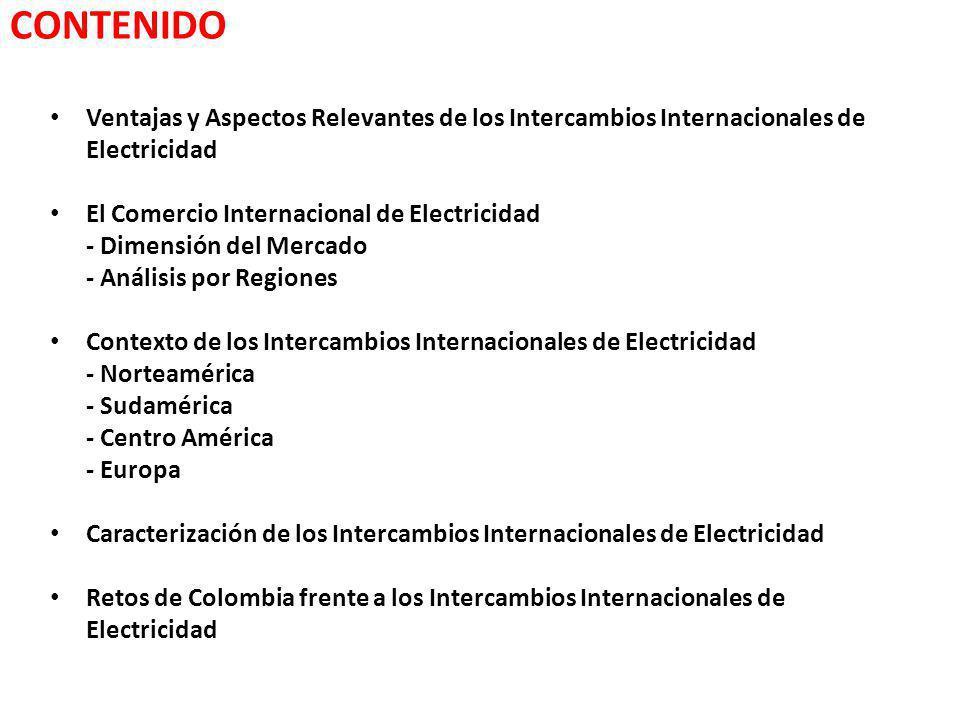 CONTENIDO Ventajas y Aspectos Relevantes de los Intercambios Internacionales de Electricidad El Comercio Internacional de Electricidad - Dimensión del