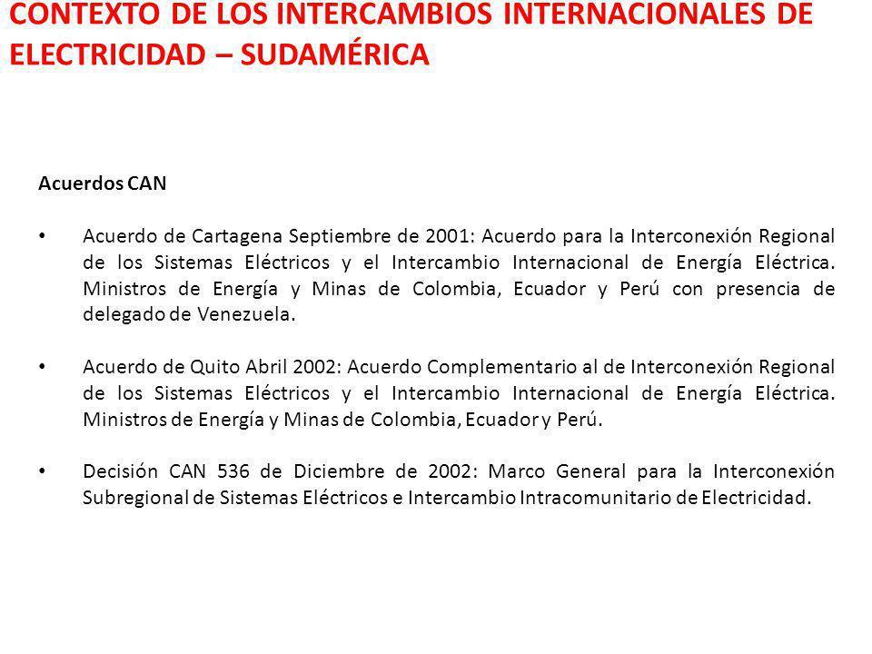 Acuerdos CAN Acuerdo de Cartagena Septiembre de 2001: Acuerdo para la Interconexión Regional de los Sistemas Eléctricos y el Intercambio Internacional