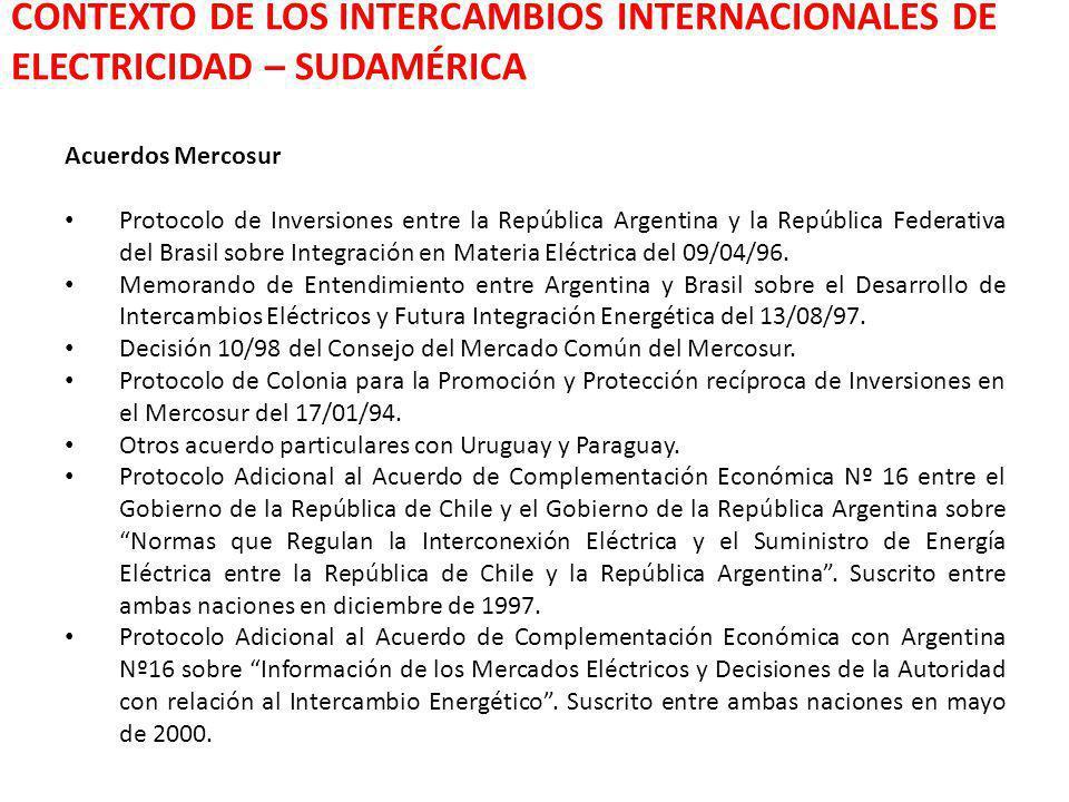 CONTEXTO DE LOS INTERCAMBIOS INTERNACIONALES DE ELECTRICIDAD – SUDAMÉRICA Acuerdos Mercosur Protocolo de Inversiones entre la República Argentina y la