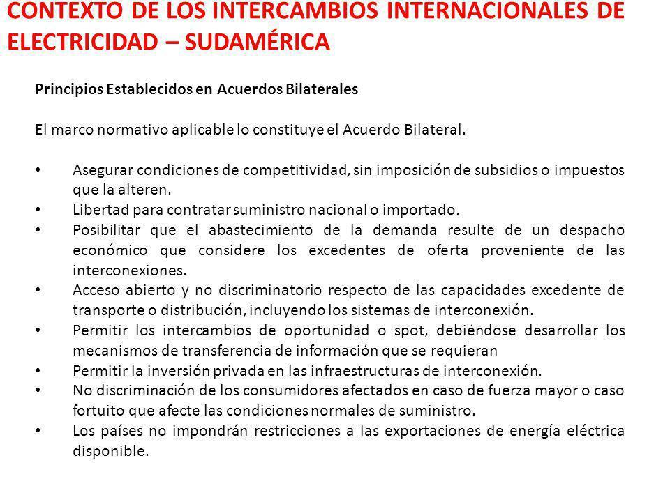 CONTEXTO DE LOS INTERCAMBIOS INTERNACIONALES DE ELECTRICIDAD – SUDAMÉRICA Principios Establecidos en Acuerdos Bilaterales El marco normativo aplicable