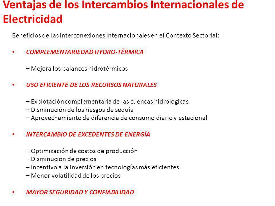 Beneficios de las Interconexiones Internacionales en el Contexto Sectorial: COMPLEMENTARIEDAD HYDRO-TÉRMICA – Mejora los balances hidrotérmicos USO EF