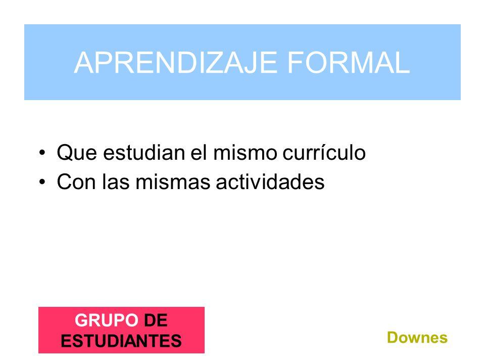 Grupo de Estudiantes Que estudian el mismo currículo Con las mismas actividades Downes APRENDIZAJE FORMAL GRUPO DE ESTUDIANTES
