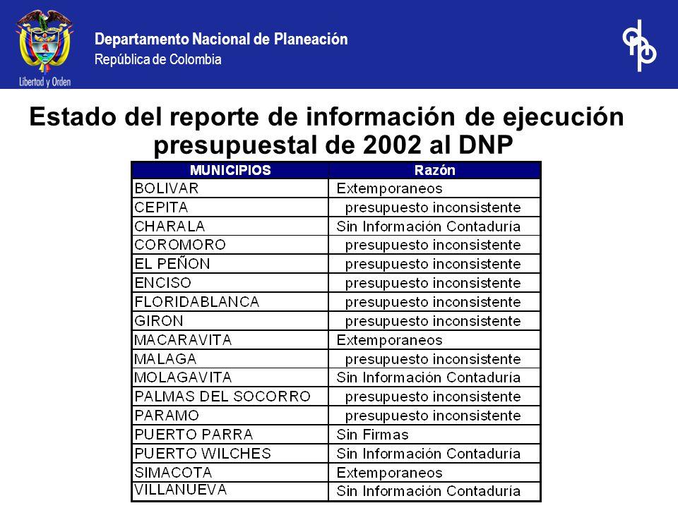 Departamento Nacional de Planeación República de Colombia Estado del reporte de información de ejecución presupuestal de 2002 al DNP