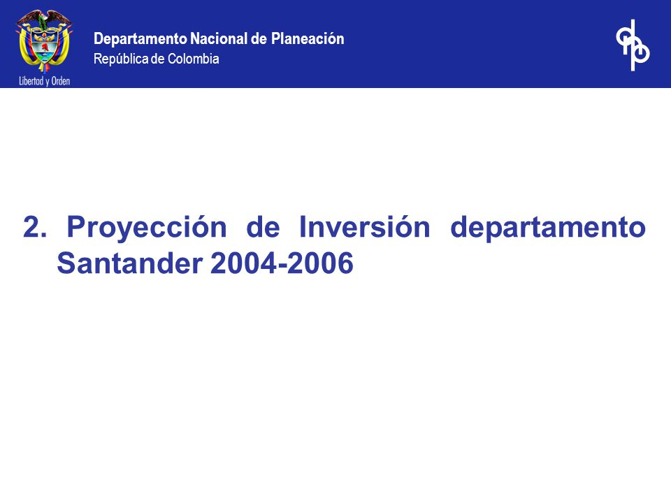 2. Proyección de Inversión departamento Santander 2004-2006