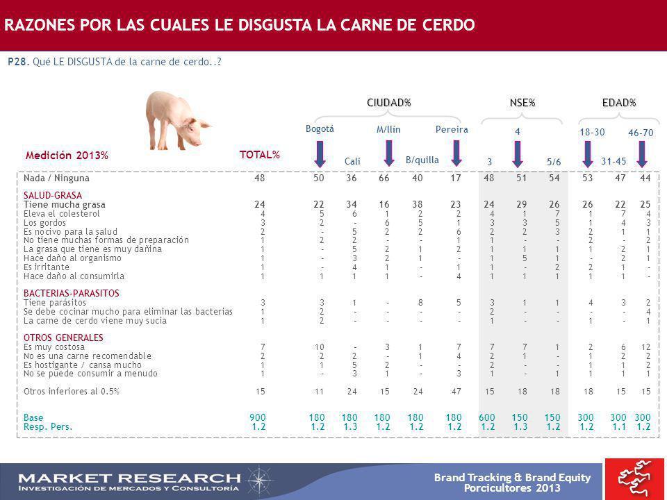 Brand Tracking & Brand Equity Porcicultores 2013 Bogotá Nada / Ninguna485036664017485154534744 SALUD-GRASA Tiene mucha grasa242234163823242926262225 E